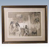Nude Females & Artist in Atelier Signed Lithograph by French - American Jean Jansem (1920-2013)