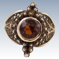 Vintage  1940s 10k Yellow Filigree Gold Ring w/ Orange Gemstone