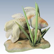 Limited Edition 1970s Burgues USA Goldfish Porcelain Figural Grouping #85 of 150