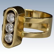 Modernist 1970s 18k Yellow Gold & Diamonds Designer Ring