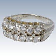 Vintage 1940s 14k White Gold & Diamonds Ring Wedding Band