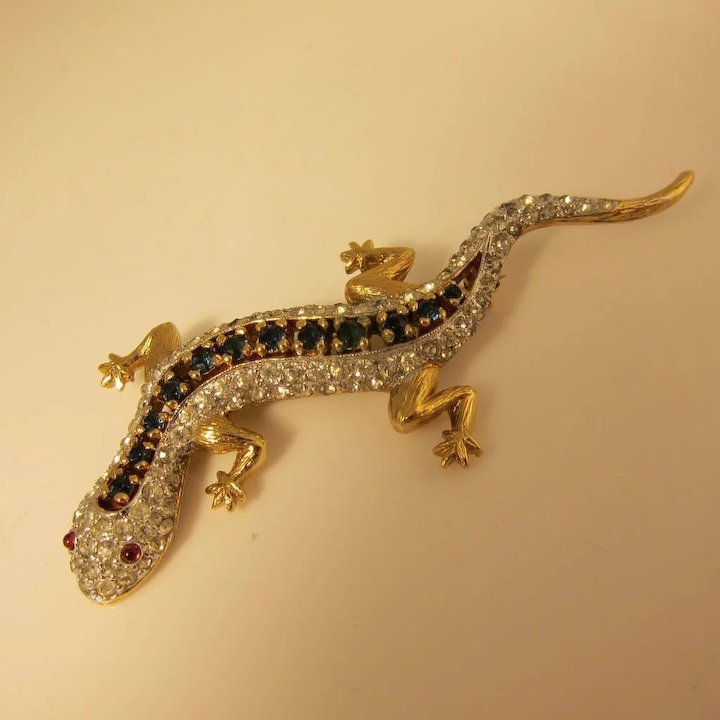 Vintage Jeweled Lizard / Gecko Brooch Pin by Panetta : Historic Shop ...