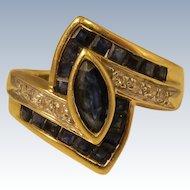 Vintage 14k Yellow Gold Diamonds & Blue Sapphires Ring