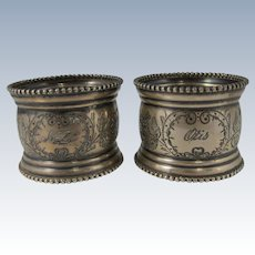 Pair of Vintage 1940s Sterling Silver Napkin Rings by American Wilcox Silver Plate Co.
