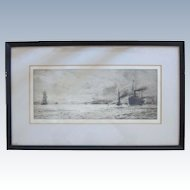 "Original Etching ""Dumbarton Rock"" by English Artist William Lionel Wyllie (1851-1931)"