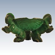 Vintage Art Deco Bohemian Malachite Glass Ashtray w/ Three Horses