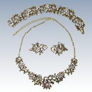 Vintage Multi-Color Rhinestone Coro Set Necklace, Bracelet & Earrings
