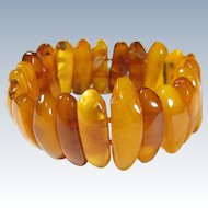 Antique 100% Natural Butterscotch Egg Yolk Amber Beads Bracelet 36.6 Grams!!!
