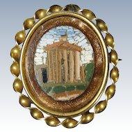 Vintage 10k Yellow Gold Micro Mosaic Pin Brooch Pantheon