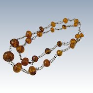 Vintage Double Stranded Natural Baltic Amber Necklace Lithuania 1980s