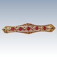 Vintage Art Deco 14k Yellow Filigree Gold & Rubies Bar Pin Brooch