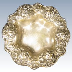 Frank M. Whiting Sterling Silver Repousse Roses Dish Bowl