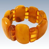 Antique 100% Natural Butterscotch Egg Yolk Amber Links Bracelet 46.6 Grams