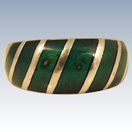 Vintage Spanish 915 Silver and Green Enamel Ring Spain