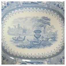 Antique Blue Staffordshire Transferware Ironstone Serving Platter Canova Pattern 1830s-1850s