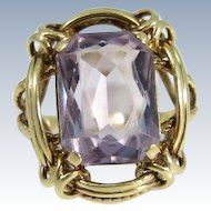 European Early XX Century 14k Yellow Gold & Octagon Cut Amethyst Ring