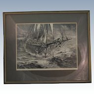 John A Noble Signed Framed Lithograph Outa Jib