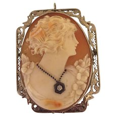 Beautiful Art Deco Carved Shell Cameo Brooch Pin Pendant 14k White Gold & Diamond
