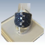 Beautiful 18K White Gold Blue Sapphires Diamond Ring, Blue and White USA Jewelry