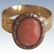 Antique Victorian Coral 14k Yellow Gold Ring
