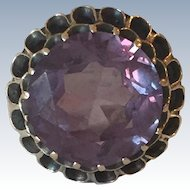 Vintage Round Amethyst 14k Yellow Gold Ring
