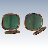 Vintage 14K Yellow Gold Green Minerva Intaglio Cufflinks