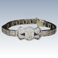 Stunning Art Deco 14K Filigree White Gold Diamonds and Sapphires Bracelet