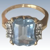 Stunning 10K Yellow Gold Blue Topaz Diamond Ring