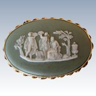 Vintage 14K Yellow Gold Green Jasper Ware Cameo Wedgwood Oval Pin/Brooch Made in England