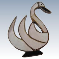 Sterling Silver Swan Hand Made Brooch/Pin-Master of Pearl and Onyx