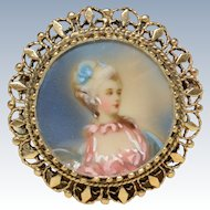 Beautiful 14K Yellow Gold Hand Painted Portrait Pendant/Brooch
