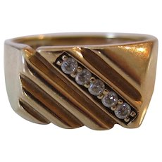 10K Yellow Gold Men's Diamond Signet/Ring