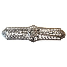 14K White Gold Diamond Art Deco Filigree Brooch/Pin