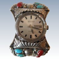 Huge Sterling Silver Native American Turquoise and Coral Watch / Cuff Bracelet