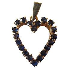 Exquisite 14K Yellow Gold Blue Sapphires Heart Pendant