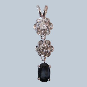 Magnificent Diamond Sapphire Trio 14K White Gold Pendant