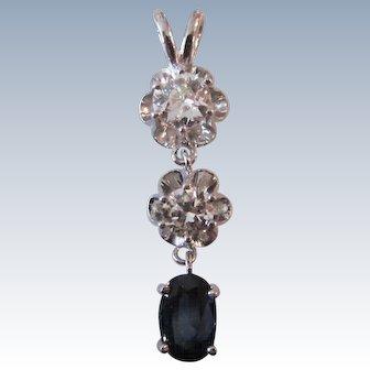Magnificent Diamond Sapphire Trio 14K White Gold Pendant