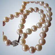 Vintage Pearl Necklace with 18K White Gold and Diamonds Clasp