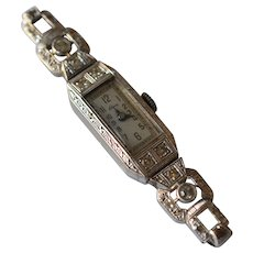 Stunning Art Deco Habmann 14K White Gold & Diamonds Wrist Wind Up Ladies Watch