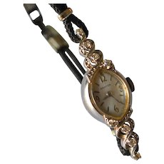 Art Deco 14K White Gold & Diamonds Croton Manual Wind Up Ladies Wristwatch