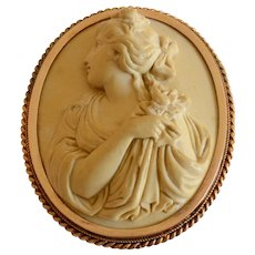 Vintage 14K Lava Cameo Brooch in High Relief