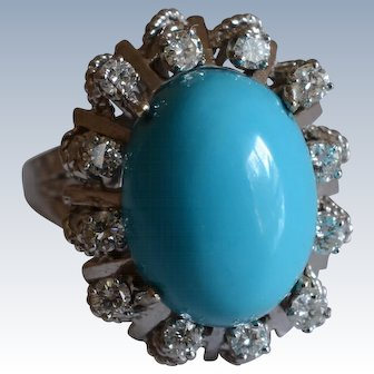 Jack Gutschneider Vintage 14K White Gold Turquoise Color Glass Cabochon & Diamond Halo Ring