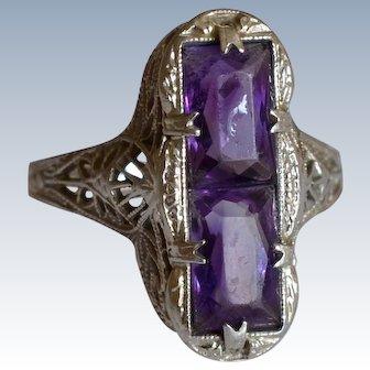 Art Deco Amethyst 14K White Gold Filigree Ring