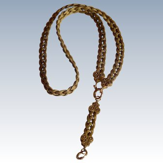 Antique Victorian 14K Yellow Gold Four Braided Strands Necklace for Pendant