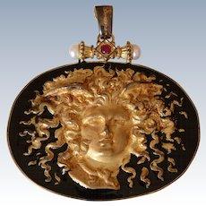 Large Italian Tagliamonte 14K Yellow Gold & Black Enamel Medusa Pendant