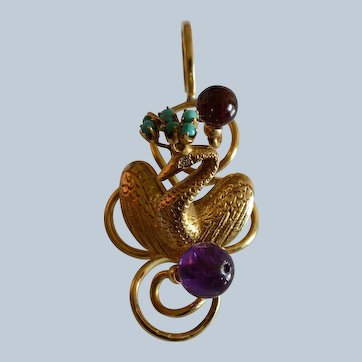 Large Vintage 14K Yellow Gold Diamond, Amethyst, Turquoise Swan Pendant
