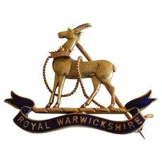 WW2 British Royal Warwickshire 8K Yellow Gold Enamel Sweetheart Lapel Badge Pin