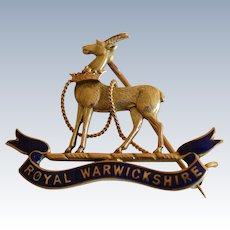 WW2 British Royal Warwickshire 8K Yellow Gold Enamel Sweetheart Lapel Badge Pin