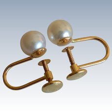 14K Yellow Gold and Cultured Pearls Screw Back Earrings