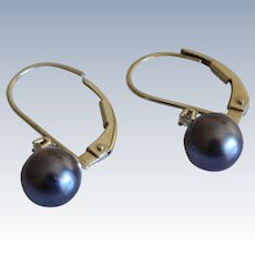 Gorgeous 14K White Gold Diamond Tahitian Pearl Leverback Earring